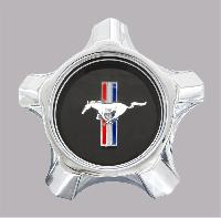 1967 Ford Mustang Styled Steel Black Center Cap Assembly, Chrome W/ Black Emblem, Includes Backing Plate And Hardware