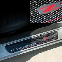 Carbon Fiber Door Sill Plates with C6 Z06 505HP Logo 2006-2013 C6 Z06 Corvette