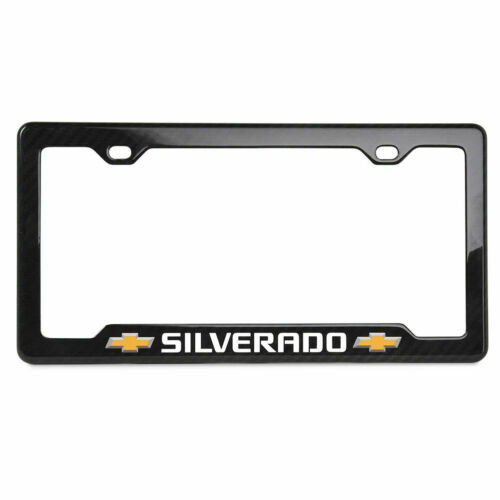 Chevrolet Silverado Carbon Fiber License Plate Frame - GM Licensed - Notched