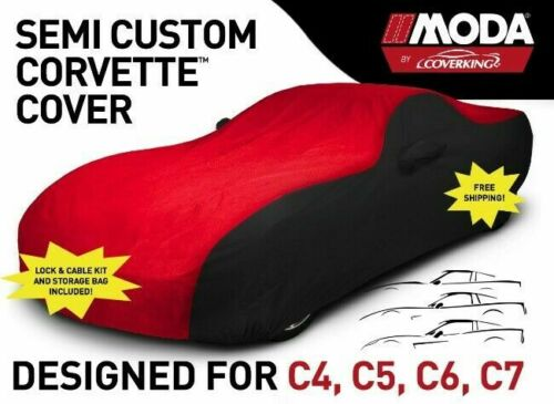 Coverking Semi Custom Triguard Car Cover for C4-C7 Corvette Red/Black 1984-2019