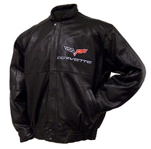 Lambskin Leather Jacket in Black with C6 Corvette Logo